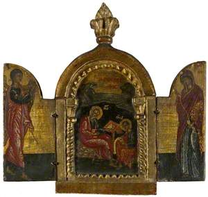 Icon Triptych: St John dictating his Gospel and the Annunciation
