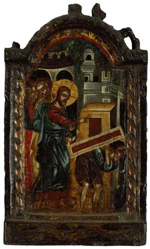 Icon Triptych: The Healing of the Paralytic (wings missing)