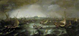 Ships in a Squall on the Haarlemmer Meer