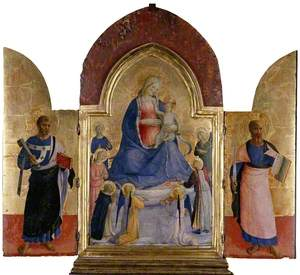 The Virgin and Child with Angels and a Dominican Saint (centre); St Peter (left); St Paul (right)
