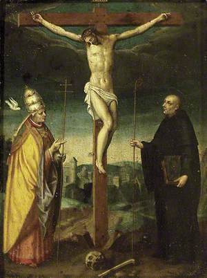 The Crucifixion with St Gregory and a Bishop Saint