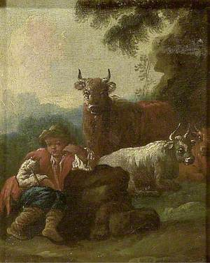 Boy with Cattle in a Landscape