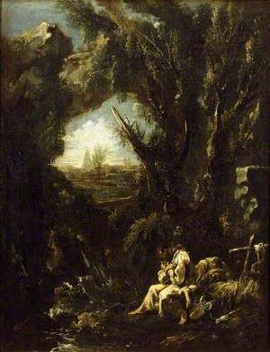 Landscape with two Hermits in meditation