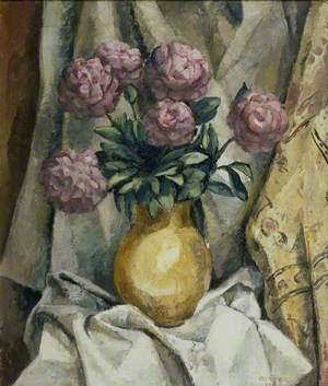 Peonies in a yellow Vase