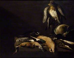 Still Life of Game with four Plovers