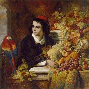 Still Life of Fruits with the Figure of a young Man