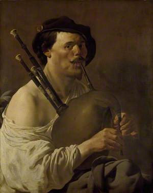 Portrait of a Man playing the Bagpipes