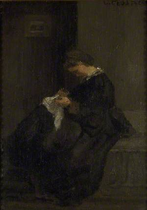Mme Pissarro sewing