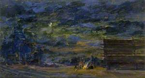 Nocturnal Landscape with a Group round a Fire