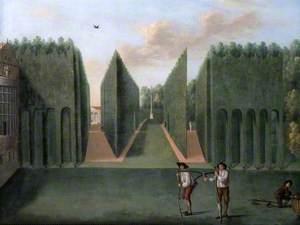 The Topiary Arcades and George II Column, Hartwell House, Buckinghamshire