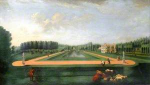 The Long Canal and Gibbs Temple, Hartwell House, Buckinghamshire