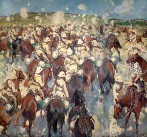 The Charge of the Royal Buckinghamshire Hussars at El Mughar, Palestine, 13 November 1917