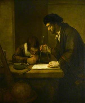 The Mathematician, a Scholar with Dividers and a Set Square at a Table in His Study Attended by a Pupil