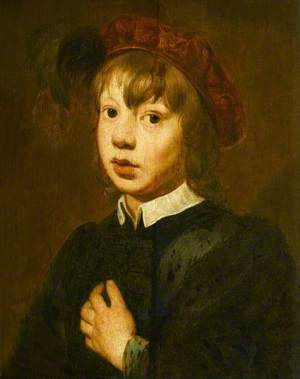 A Young Boy Wearing a Red Beret with Feathers