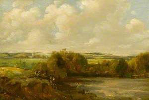 River Landscape with Workmen Digging