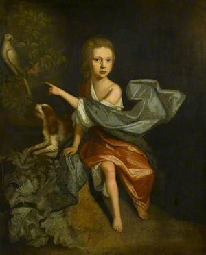 Portrait of a Boy with a Parrot and a Spaniel