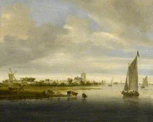 River Landscape with a Sailing Boat Passing Cattle