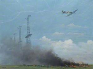 Spitfire over Chain Home Radar Masts and Crashed German Aircraft