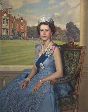 Elizabeth II (b.1926), with Latimer House in the Background