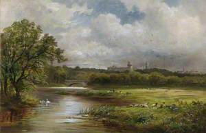 Rural Landscape with Sheep Grazing in a Meadow with Windsor Castle in the Distance