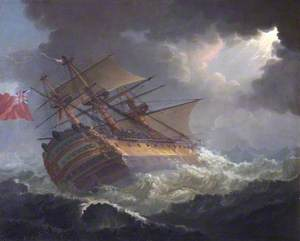 'HMS Asia' in Heavy Sea, Bay of Biscay at Night