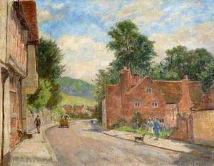 The High Street, West Wycombe, Buckinghamshire, Looking towards the Pedestal and Branch Wood at Downley