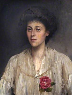A Lady in a White Dress with a Rose