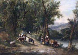 Cattle and Figures in a Wooded Valley with a Stream