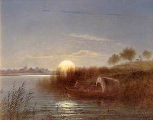River Scene by Moonlight