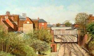View from Rockingham Road Railway Bridge, Newbury, Berkshire