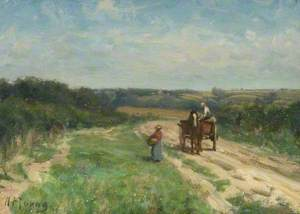 Country Landscape with a Couple and a Cart