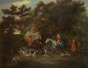 Huntsmen and Hounds Outside an Inn
