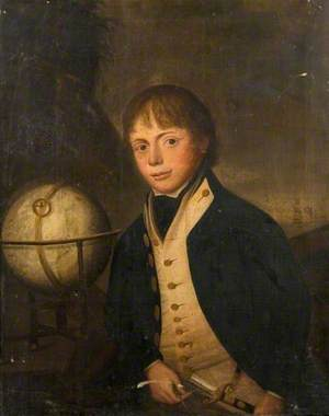 Royal Naval Midshipman with a Globe