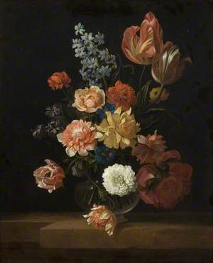 Flowers in a Glass Bowl