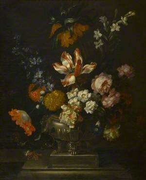 Flowers in a Silver Dish