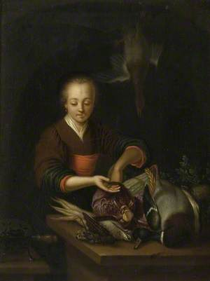 A Woman Stuffing a Bird