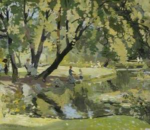 Figures by a Pond