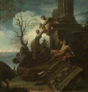 Landscape with Figures and Classical Ruins