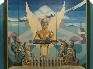 American Air Force Mural Featuring the Spirit of Aerial Combat