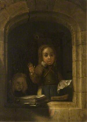 Girls with a Copybook, within a Stone Arch