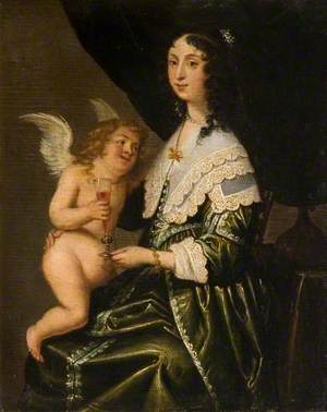Lady with Cupid Holding a Wine Glass