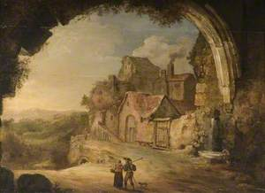 Mountain Landscape with Decaying Hamlet Seen though an Arch