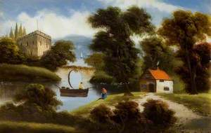 Scene with a Cottage, a Boat and a Bridge over a River