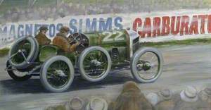 Magnetos Simms' Carburate, Vintage Car on a Racing Track
