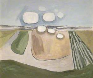 White Clouds Encountering a Field