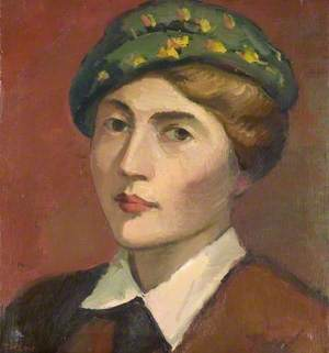 Head and Shoulders Portrait of a Woman in a Green Hat*