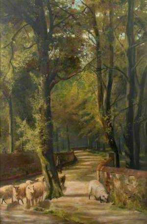 Wooded Lane with Shepherd and Sheep