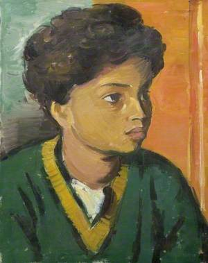 Portrait of a Child in a Green V-Neck Sweater*