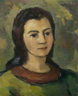 Portrait of a Young Woman with a Green Dress and a Brown Collar*