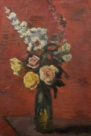 Flowers including Roses in a Tall Vase*